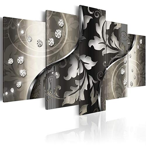 Diamond Night Print Wall Art on Canvas Modern Black and White Gray Painting Contemporary Picture Framed Home Decoration Flower 5 Piece Artwork (Large W60