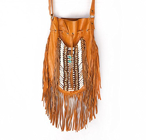 Bags Purse Real Round Fringe Bag Boho L Beige Leather Bohemian 8p717q