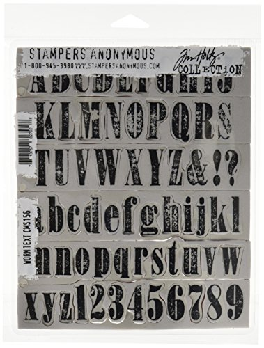 (Stampers Anonymous Tim Holtz Cling Rubber Stamp Set, 7 by 8.5-Inch, Worn Text)