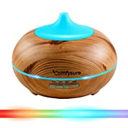 300ml Essential Oil Diffuser for Aromatherapy & Ultrasonic Cool Mist Air Humidifier - Filter Free: Best Personal Aroma Diffuser for Office, Home, Bedroom, Kids & Baby Room and Yoga Spa- Wood