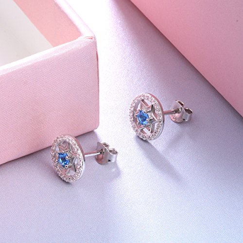 Jewish Gifts 925 Sterling Silver Hexagram Round Blue Star Stud Earrings for Women Jewelry
