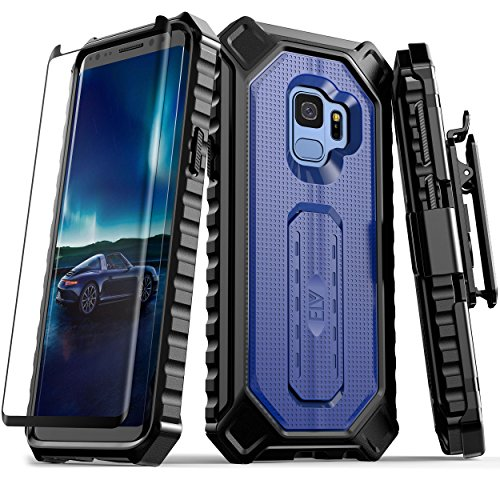 Samsung Galaxy S9 Case, ELV [Croco Series] Premium Holster Defender Belt Clip Rugged Case - Curved Glass Screen Protector & Kickstand for Samsung Galaxy S9 (DARK BLUE/ BLACK) - Kickstand Screen
