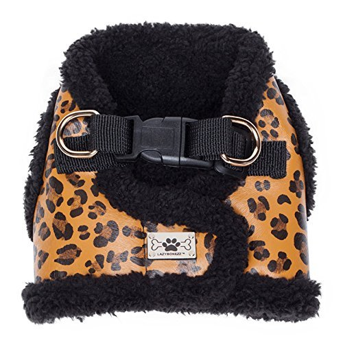 LazyBonezz Adjustable Shearling and Faux Leather Dog Harness Vest Coat, Leopard Print Large Leopard Print Dog Coat