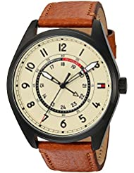 Tommy Hilfiger Mens Sport Quartz Resin and Leather Casual Watch, Color:Brown (Model: 1791372)
