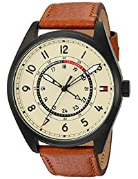 Tommy Hilfiger Men's 'Sport' Quartz Resin and Leather Casual Watch, Color:Brown