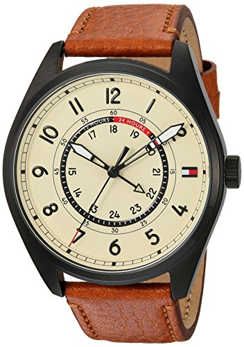 Tommy Hilfiger Men's 'Sport' Quartz Resin and Leather Casual Watch, Color:Brown (Model: 1791372)