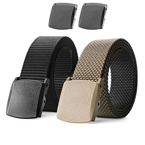 (Nylon Military Tactical Men Belt 2 Pack Webbing Canvas Outdoor Web Belt With Plastic)