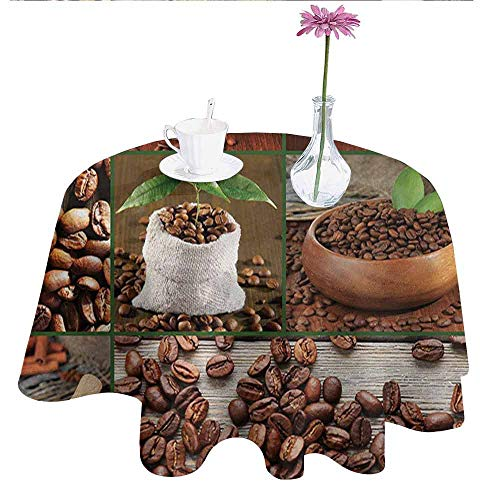 Bag Bean Vinyl Burgundy - Brown Washable Tablecloth Collage of Coffee Beans in Cups and Bags with Green Leaves on Wooden Table Photo Dinner Picnic Home Decor D51 Inch Brown Green