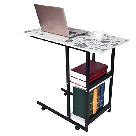 Amazon Com Bsgsh Overbed Laptop Table With Shelves Foldable