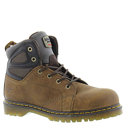 Classic 6 Eye Boot - Dr. Martens Men's Fairleigh Steel Toe 6 Eye Boots, Brown Leather, 10 M UK, 11 M US