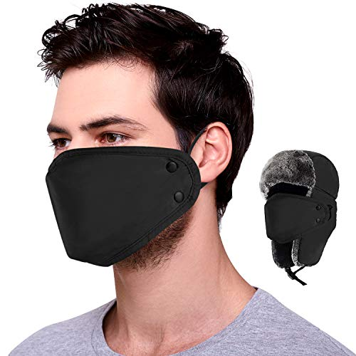 mysuntown Winter Hat with Washable Cloth Mask for Men and Women Winter BandanaDustproof and