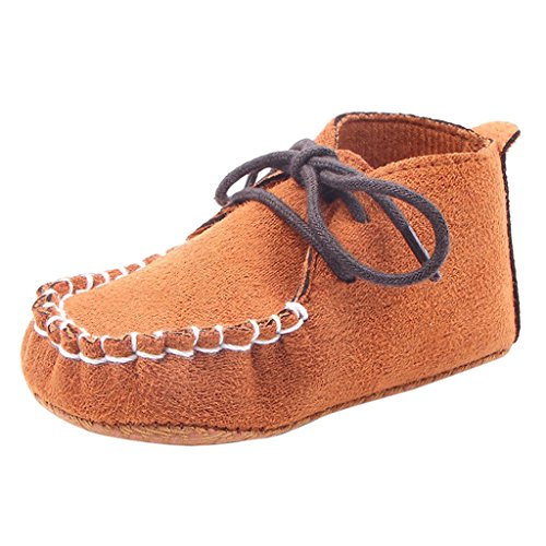 Nubuck Suave Zapatos De Cuero Primeros Pasos De Bucle Cordón Para Bebé Niños Lindo Antideslizante - Plata, 11 Marron