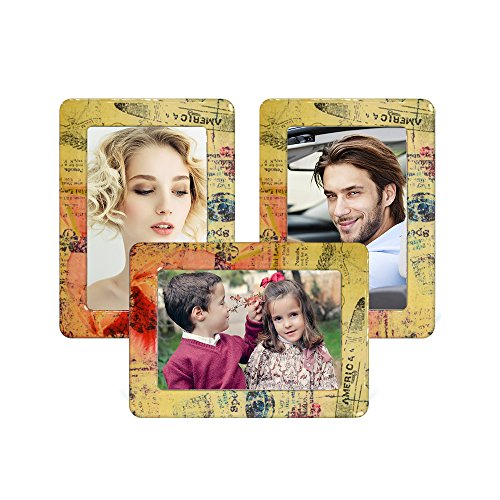 UCMD  Fridge Photo Frame Magnets Lovely Colorful Retro Fridge Magnet Magnetic Picture Frames 3 Pieces (retro) by UCMD