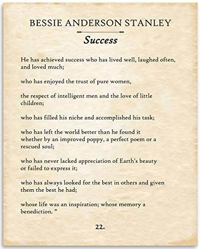 Bessie Anderson Stanley - He Has Achieved Success - 11x14 Unframed Typography Book Page Print - Great Gift for Book Lovers, Also Makes a Great Gift Under $15