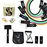11 Pcs Resistance Band Set with Door Anchor,5 Exercise Bands,2 Rubber Handles,Storage Bag and 2 Ankle Straps-For Resistance Training,Physical Therapy,Home Workouts