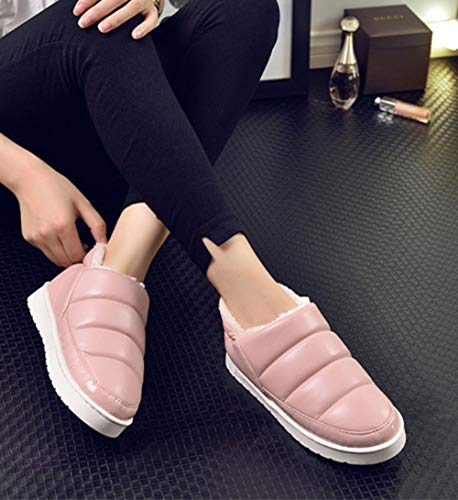 Flats Booties Women Pink Boots Slipper Indoor Outdoor Winter Waterproof Ankle gX4qXCn
