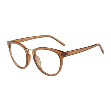 480bf69931 Hzjundasi Oval Plastic Frame Retro Ultralight Full Frame Non-prescription  Eyewear Women Men Clear Lens