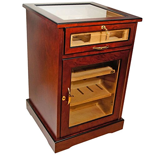 Wine and Cigars Cabinet Humidor - Cherry African Bubinga Wood Exterior - Spanish Cedar Interior - End Table Humidors - polished beveled glass.