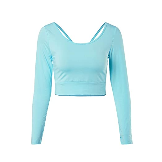 c32d1d55f85789 ENIDMIL Crop Tops for Women - Long Sleeve Crop Top Workout Yoga Gym Sports  Shirt -
