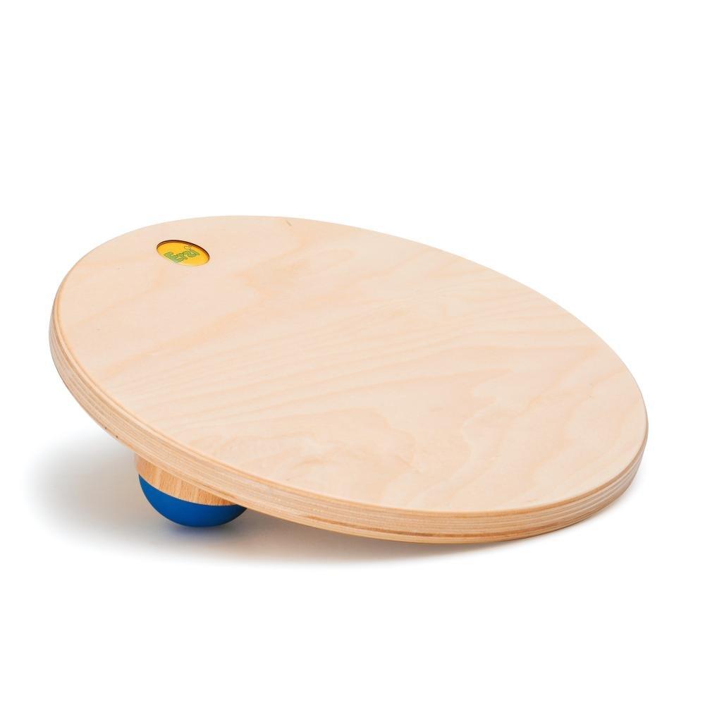 Erzi Therapiekreisel Flex, Balanchierspiel, aus Holz, Höhe 6 cm, Durchmesser 28 cm, natur-blau