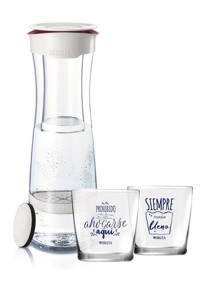BRITA Fill & Serve Bottiglia con Filtro, 1,3l + 2Bicchieri, Bianco/Bordeaux, 11.5x 23.95X 37.45cm, 4Pezzi 107434