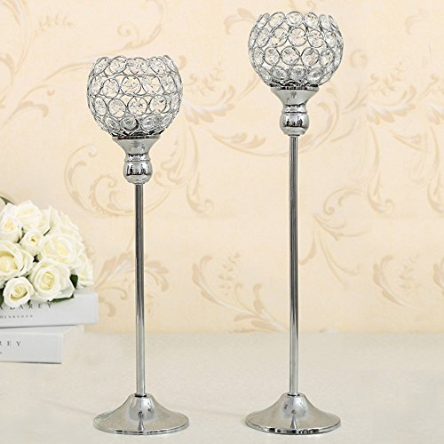 VINCIGANT Silver Crystal Pillars Candlesticks for Valentines Day Wedding Party Coffee Table Decorative Centerpiece Set of 2