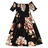 ☀️EDC Women's Floral Print Dresses Sexy Casual Loose Slash Neck Off Shoulder Hight Waist Strappy Bow Beach Mini Swing Dress (Black, S)