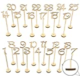 vintage table number holders - Wooden Wedding Table Numbers 1-25 Pack THICK HEAVY DUTY Vintage Home Birthday Party Event Banquet Decor Anniversary Decoration Favors Signs Natural Color Set Stands With Base Holder Catering Reception
