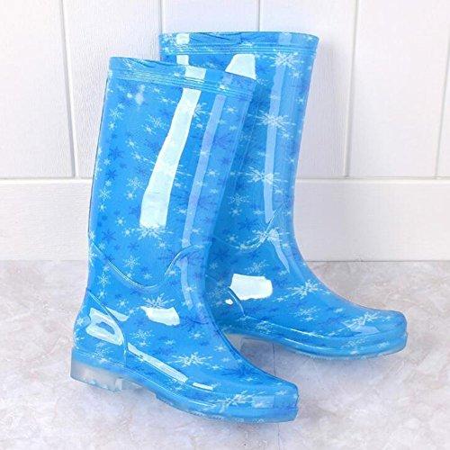 hibote Frauen Regen Stiefel Weiblich Original Tall Warmwasser Lady Schuhe Antiskid Gummigaloschen Blaue Blume 40EU