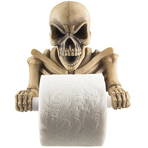 Evil Skeleton Decorative Toilet Paper Holder in Scary Halloween Decorations As Bathroom Decor Wall Plaques, Sculptures and Novelty Bath Accessories or Spooky Skulls & Skeletons for Medieval & Gothic Gifts