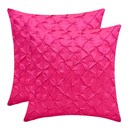 The White Petals Fuschia Throw Pillow Covers (Faux Silk, Pinch Pleat, 18x18 inch, Pack of 2)