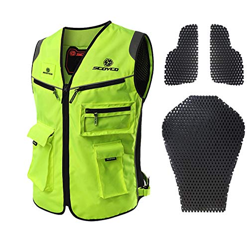 SCOYCO High Visibility Jackets Reflective Clothing Touring Motorcycle MBX/MTB/ATV Riding Vest Fluorescent Reflective Vest (GREEN,XL)