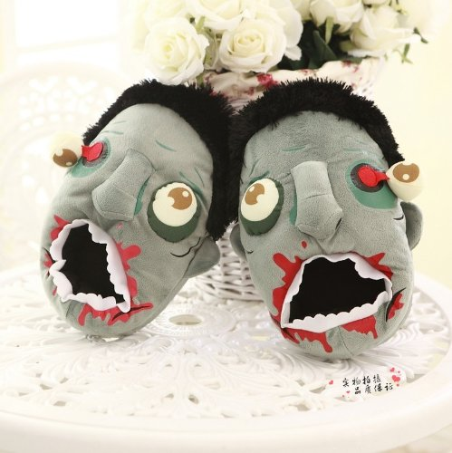 Plants Vs Zombies Punk Style Slippers Winter Warm Shoes