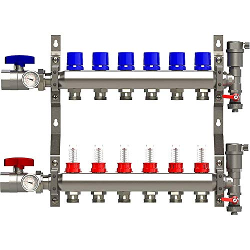 6 Loop Manifold Stainless Steel Pex 0-2 GPM Radiant Heating, with 1/2