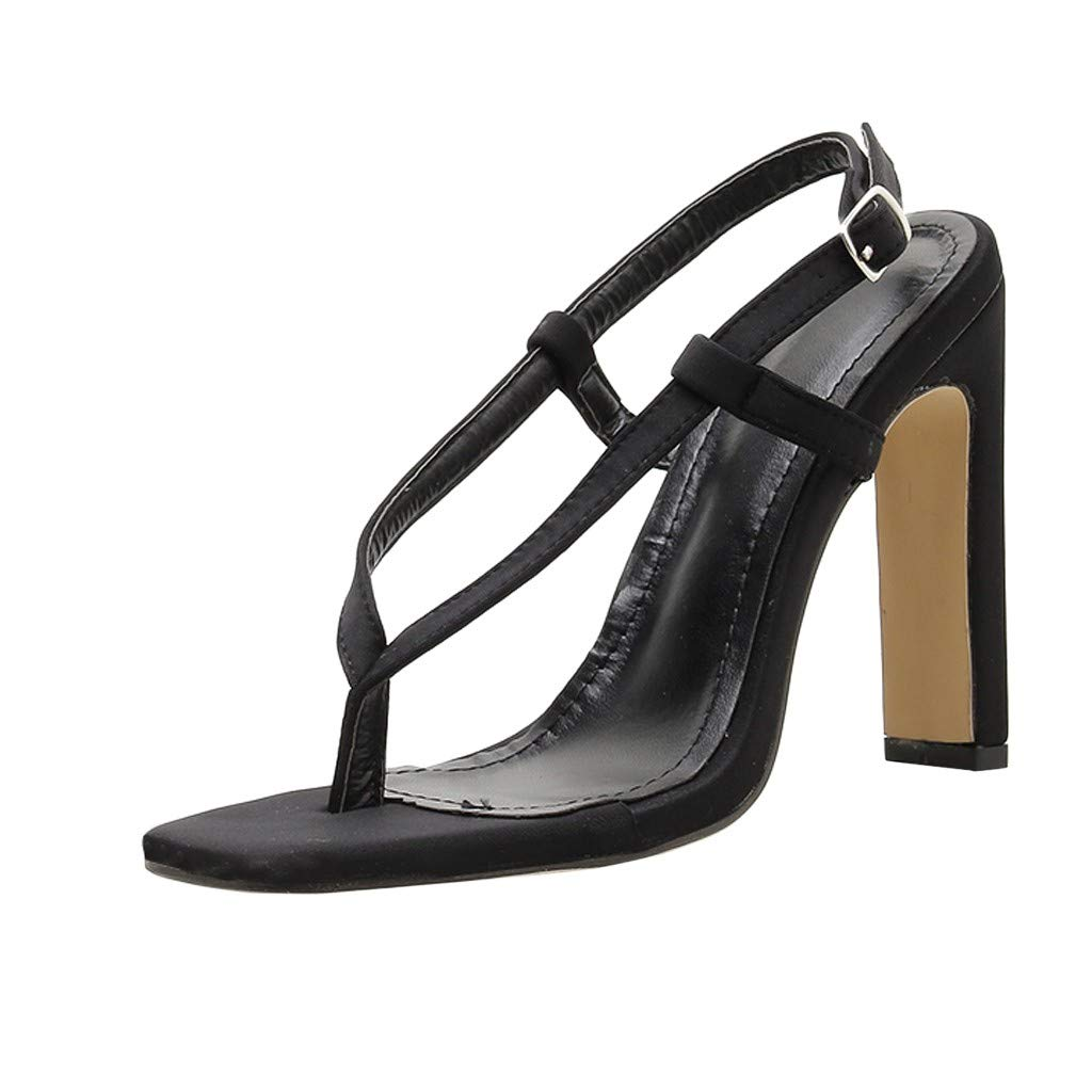 Nadition High Heels Slippers ❤️️ Ladies Summer High Square Heel Buckle Thong Sandals Wedding Classic Coarse Sandals Black
