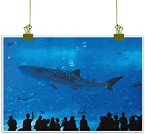 Fickdle Abstract Oil Painting Shark Unique Design Japanese Aquarium Park with People Silhouettes Watching Underwater Life Hobby Image W20 x L16 Blue Black