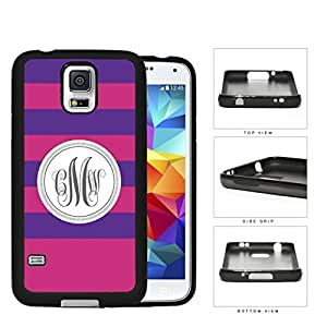 Purple And Pink Stripe With Gray Monogram (Custom Initials) Rubber Silicone TPU Cell Phone Case Samsung Galaxy S5 SM-G900