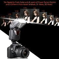 Speedlite Flash, SAMTIAN Professional Electronic Camera Flash Speedlight for Canon Nikon Panasonic Olympus Pentax DSLR Cameras from SAMTIAN