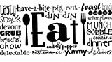 Waldenn EAT Collage Kitchen Dining Room Wall Art Decal Quote Words Lettering Decor 48 | Model DCR - 1919