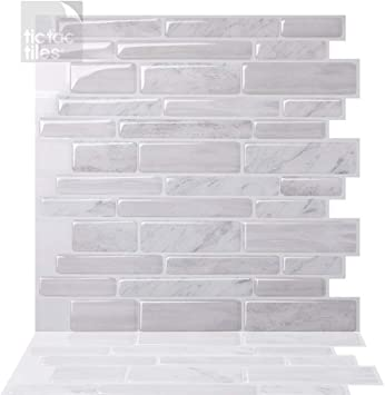Tic Tac Tiles Peel And Stick Self Adhesive Removable Stick On Kitchen Backsplash Bathroom 3d Wall Tiles In Polito Designs White 5