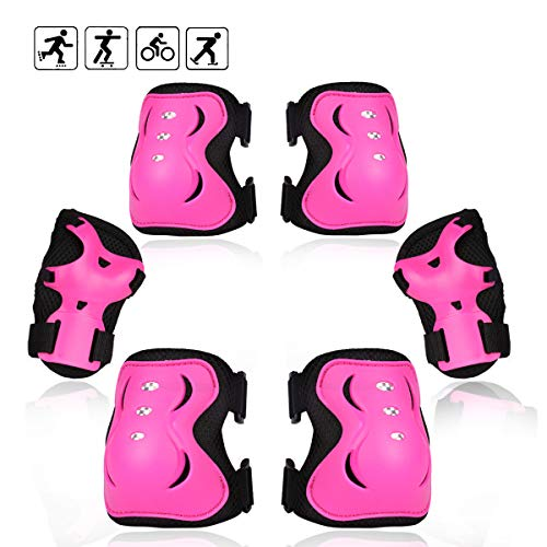 eNilecor Kid's Inline Skating Roller Blading Wrist Elbow Knee Pads Blades Guard Gift for Children's Day, Christmas Pack of 6(M,Hot Pink) ()
