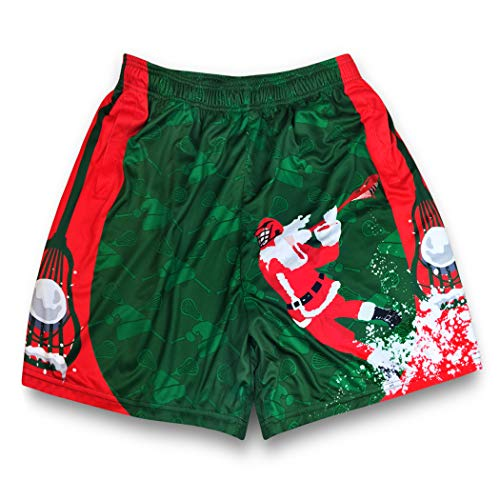 Premium Lacrosse Athletic Shorts | Christmas Santa Laxer | Adult Medium ()