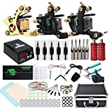 Dragonhawk Starter Complete Tattoo Kit Liner Shader Coils 3pcs Tattoo Machines Power Supply Foot Pedal Tattoo Needles Grips with Gift Case 3-2YMX-1 (3pcs Machines)