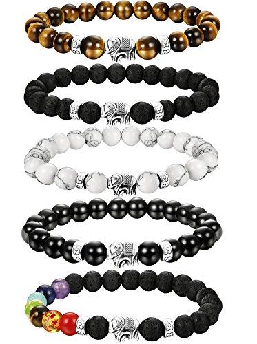 LOLIAS 4-5 Pcs Natural Stone Bead Bracelet for Men Women Elephant Chakras Bracelet Set Adjustable