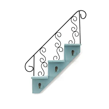 WINOMO Art Wooden Stair Shaped Shelves Wall Mounted Plant Display Rack  Decorative(Blue)