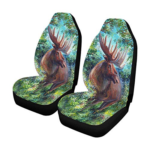 INTERESTPRINT Moose in The Woods Front Car Seat Covers Set of 2, Universal fit for Vehicles, Sedan and Jeep
