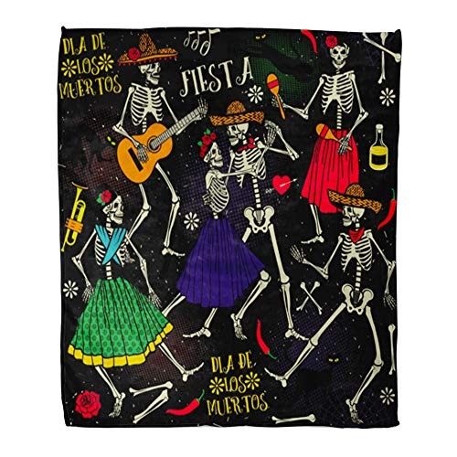 Emvency Throw Blanket Warm Cozy Print Flannel Red Day Skeletons Dia De Los Muertos The Dance Part Two Mexico Comfortable Soft for Bed Sofa and Couch 60x80 Inches ()