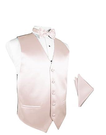 fdabf3dcabbb Blush Satin Tuxedo Vest with Bowtie & Pocket Square Set at Amazon Men's  Clothing store: