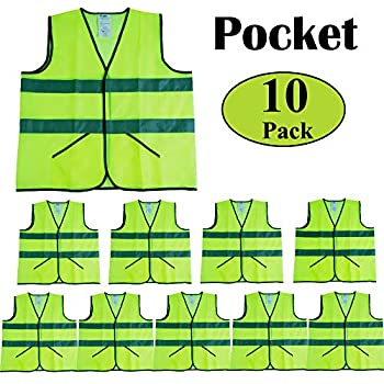 Pack of 12High Visibility Neon Yellow MeshFits Reflective Safety Vests