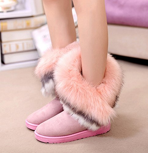 Winter High Long Boots Warm Faux Bumud Women Shoes Fur Tassel Pink Snow Ankle awqRpFB5